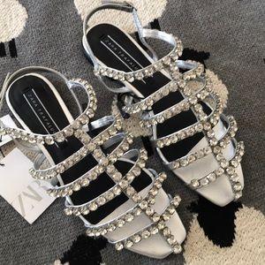 New Zara Beautiful Bejeweled Flat Sandals 37/6.5